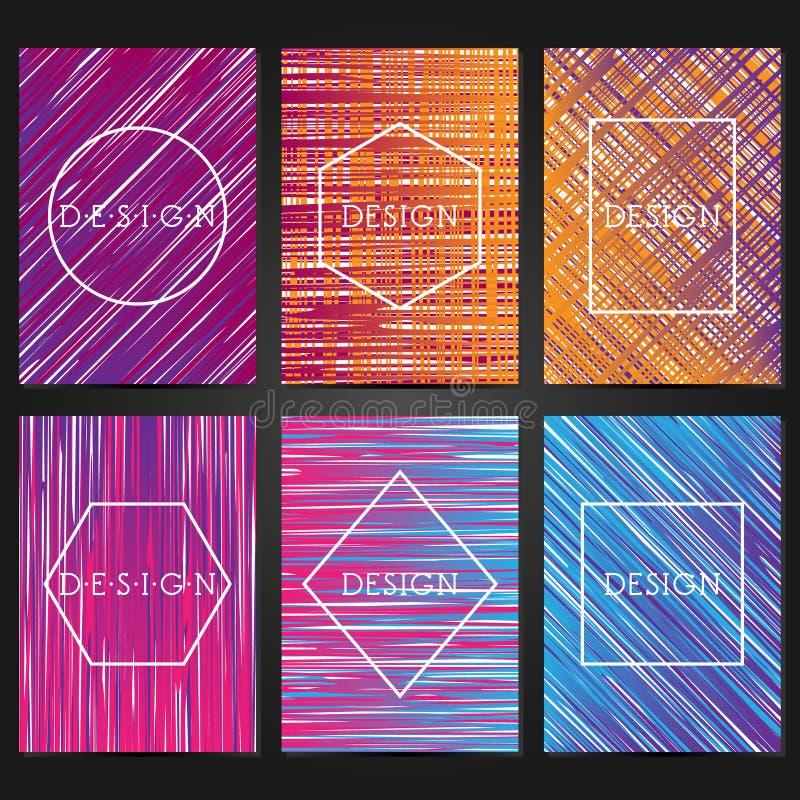 Sammlung von 6 Weinlesekartenschablonen Geometrischer Plan der Broschüre lizenzfreie abbildung