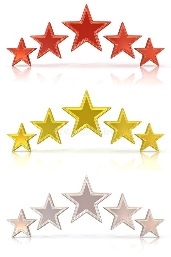 Sammlung von Wiedergabe 3D von Rot fünf, von Gold und von Weißsternen stock abbildung