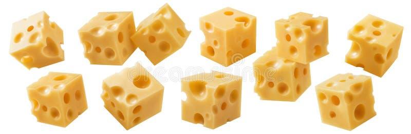 Sammlung Würfelkäsestücke Getrennt auf weißem Hintergrund lizenzfreie stockfotografie