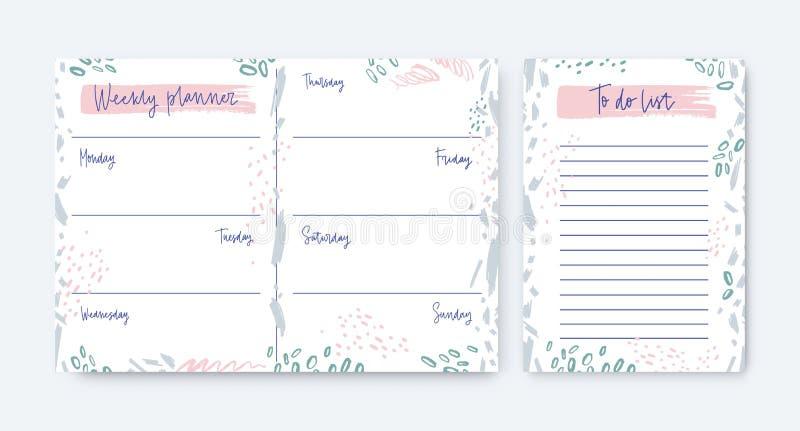 Sammlung wöchentliche Planer- und Zu-tunlistenschablonen verziert durch Flecke und Gekritzel Zeitplan, Anzeige oder Zeitplan vektor abbildung