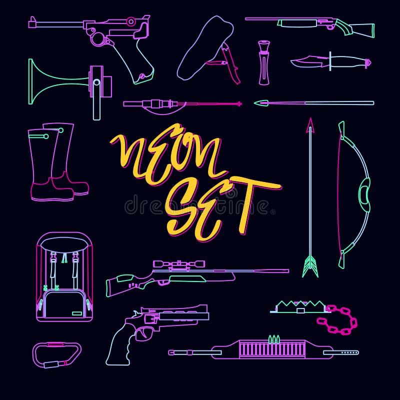 Sammlung Waffen für die Jagd in der Neonart stock abbildung