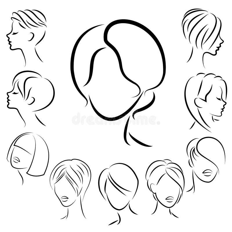 Sammlung weibliche Frisuren kurz, langes und mittleres Haar Frisuren sind modern stilvoll, sch?n und F?r Brunettes stock abbildung