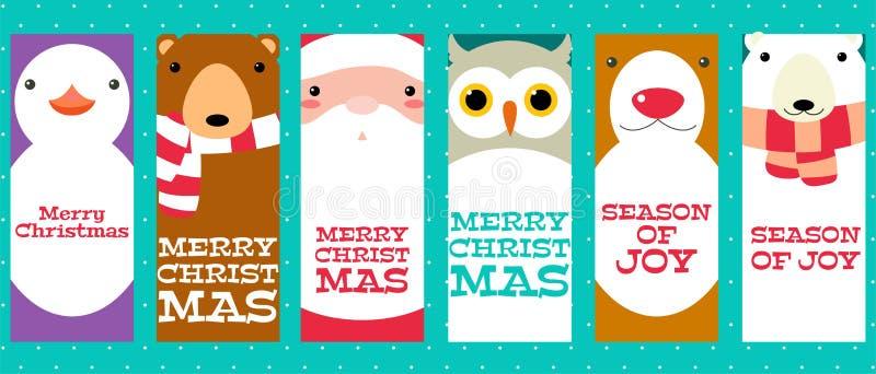 Sammlung Weihnachtsfahnen mit netten Tieren und Santa Clau stock abbildung