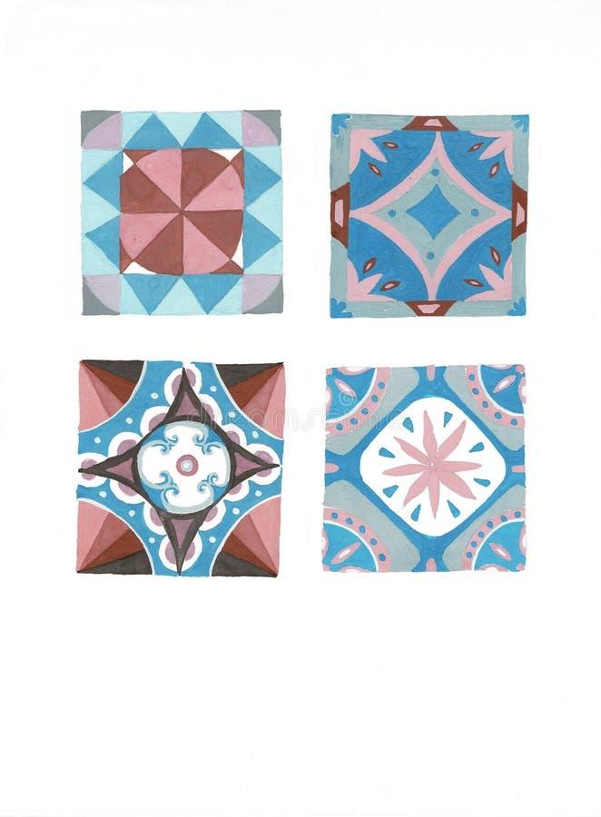 Sammlung Weinlese-dekorative Muster in den Tönen des Blaus lizenzfreie abbildung