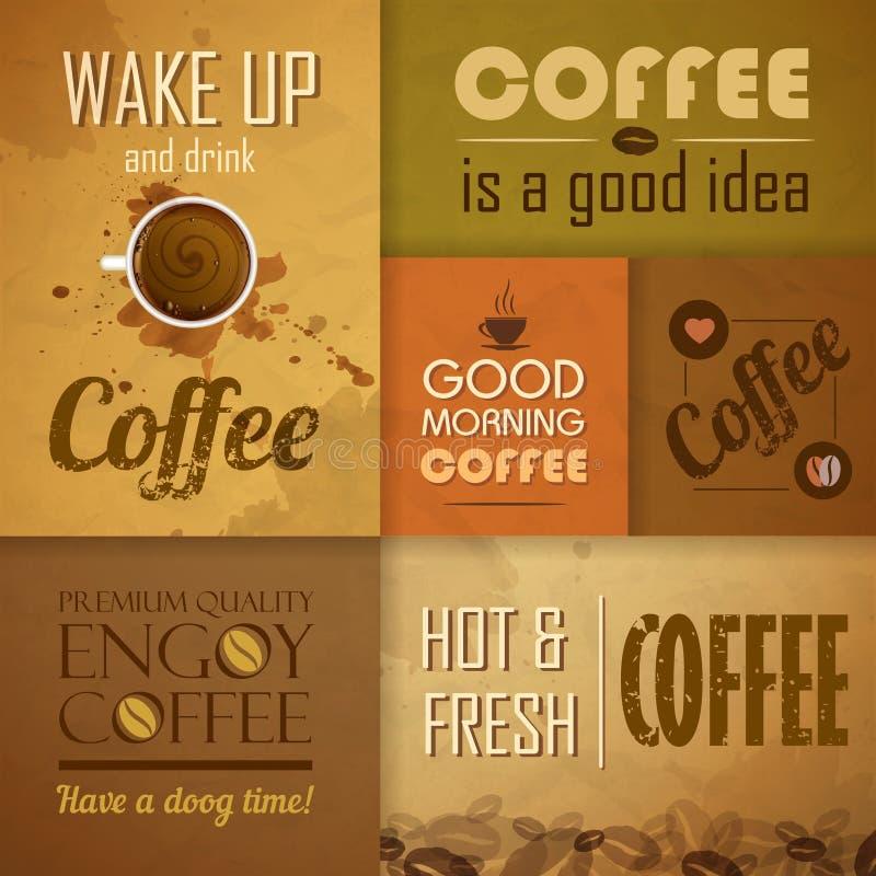 Sammlung Weinlese Kaffee-Elemente lizenzfreie abbildung