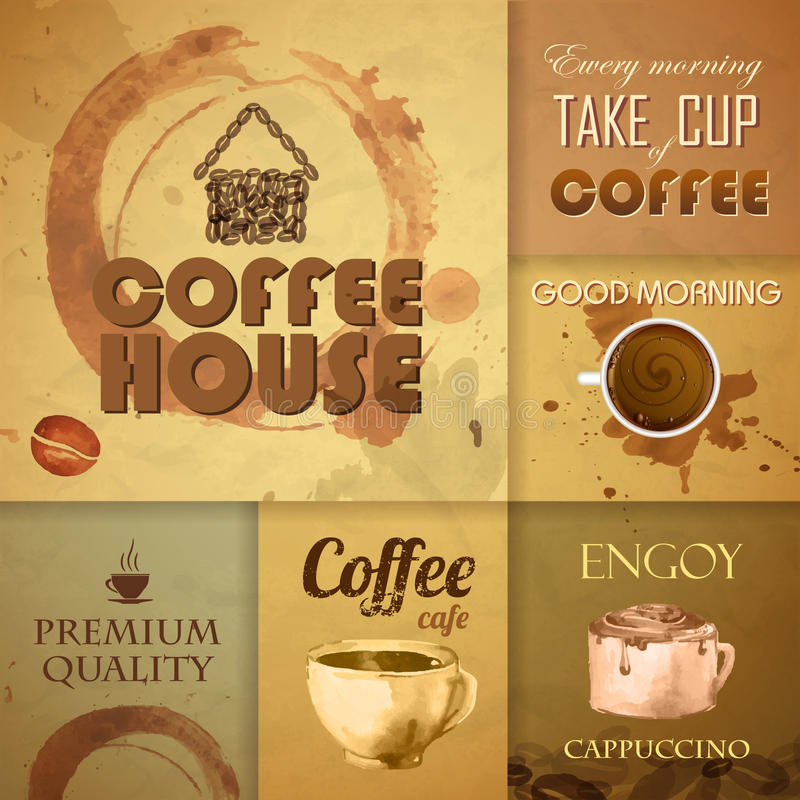 Sammlung Weinlese Kaffee-Elemente vektor abbildung