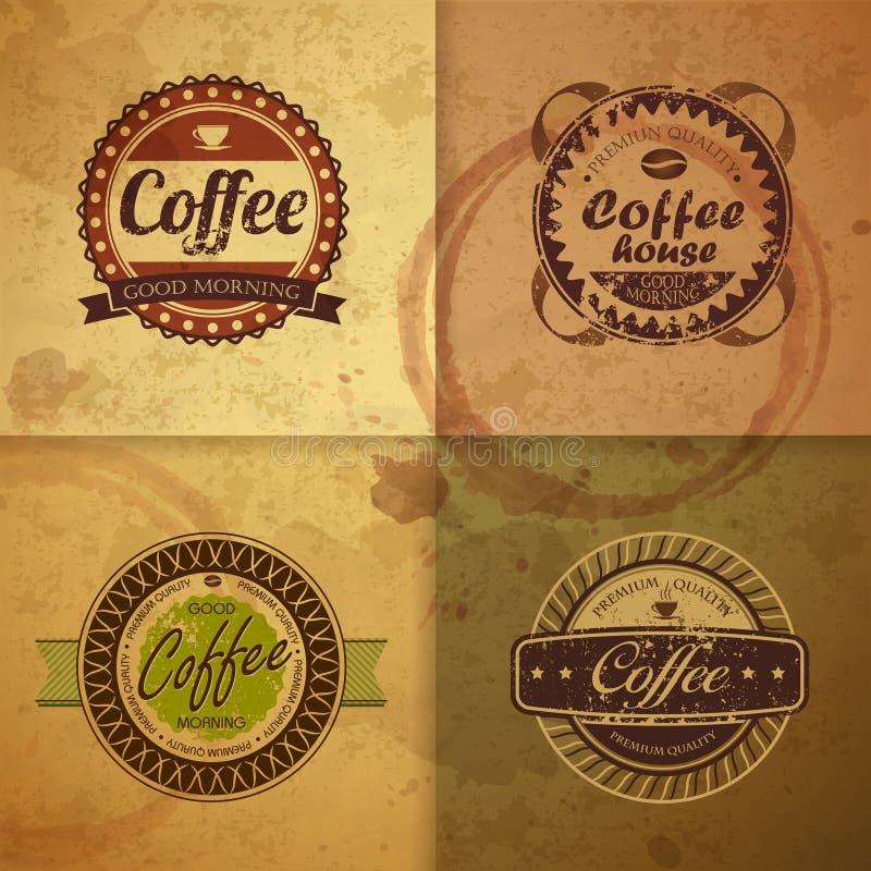 Sammlung Weinlese Kaffeeaufkleber stock abbildung