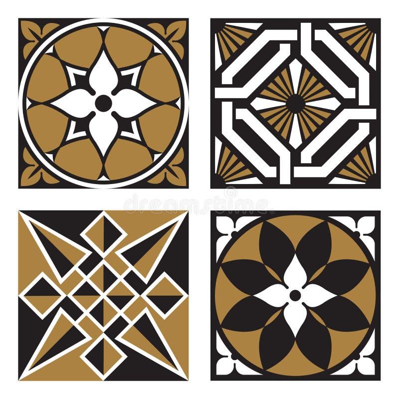 Sammlung Weinlese Ornamental-Muster lizenzfreie abbildung