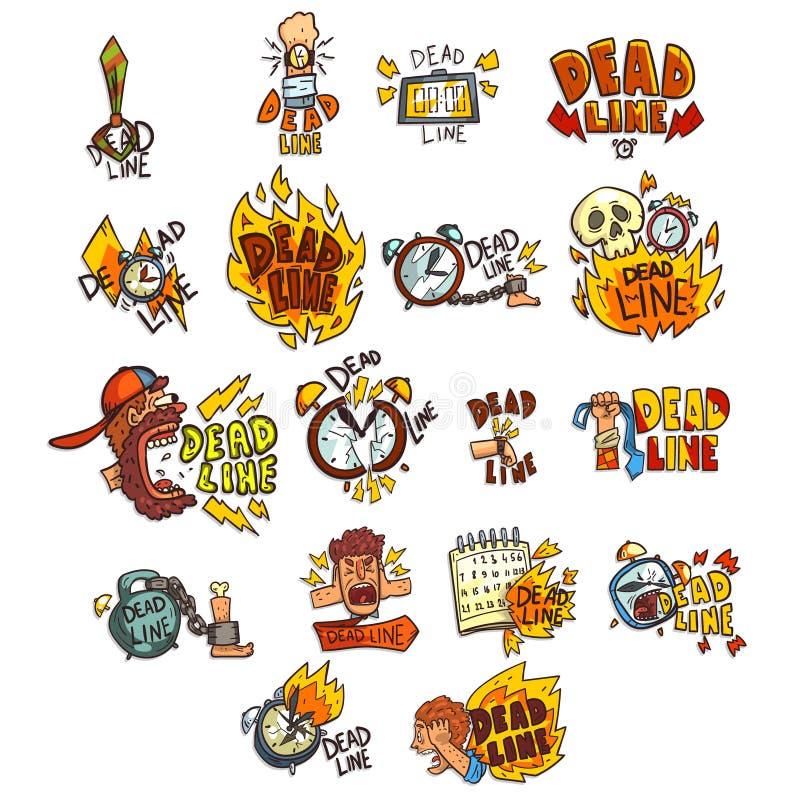Sammlung Zeichen mit Frist Wort-, Frist-, Druck- und Burnoutsymbolen vector Illustration auf einem weißen Hintergrund lizenzfreie abbildung