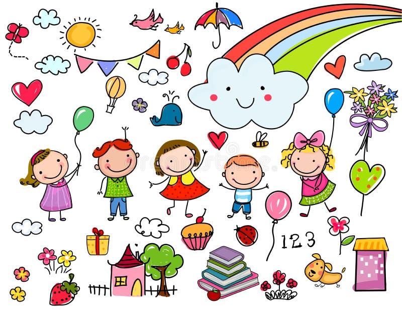 Sammlung Zeichnungen der nette Kinder von Tieren, von Anlagen und von himmlischen Elementen vektor abbildung