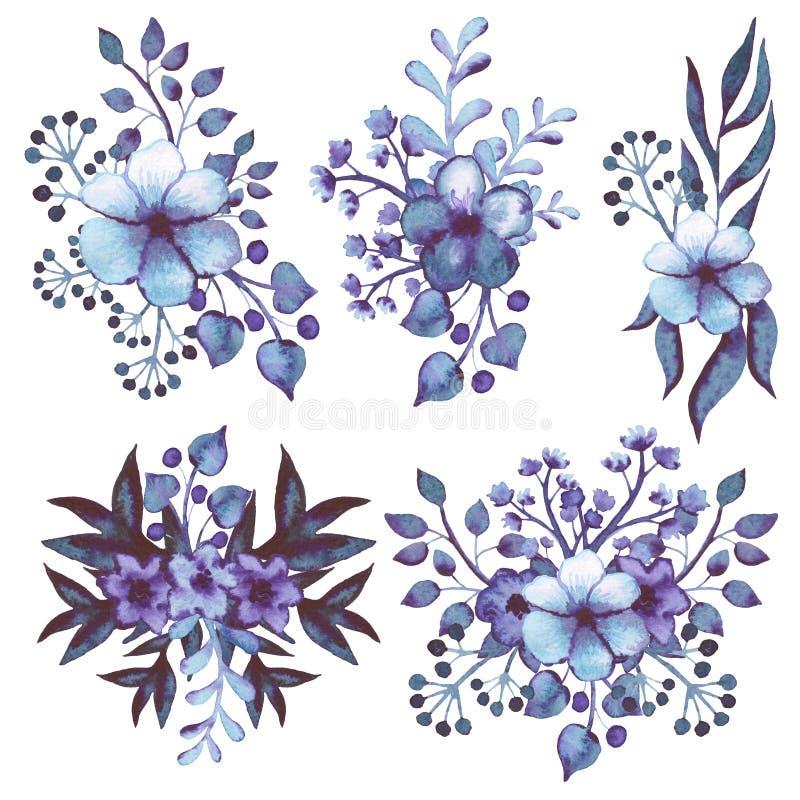 Sammlungs-Aquarell-Blumensträuße mit Blau und Violet Flowers lizenzfreie abbildung