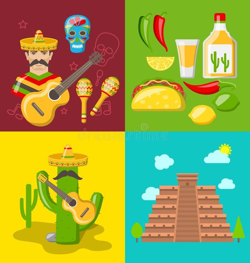 Sammlungs-Fahnen von mexikanischen Ikonen stock abbildung