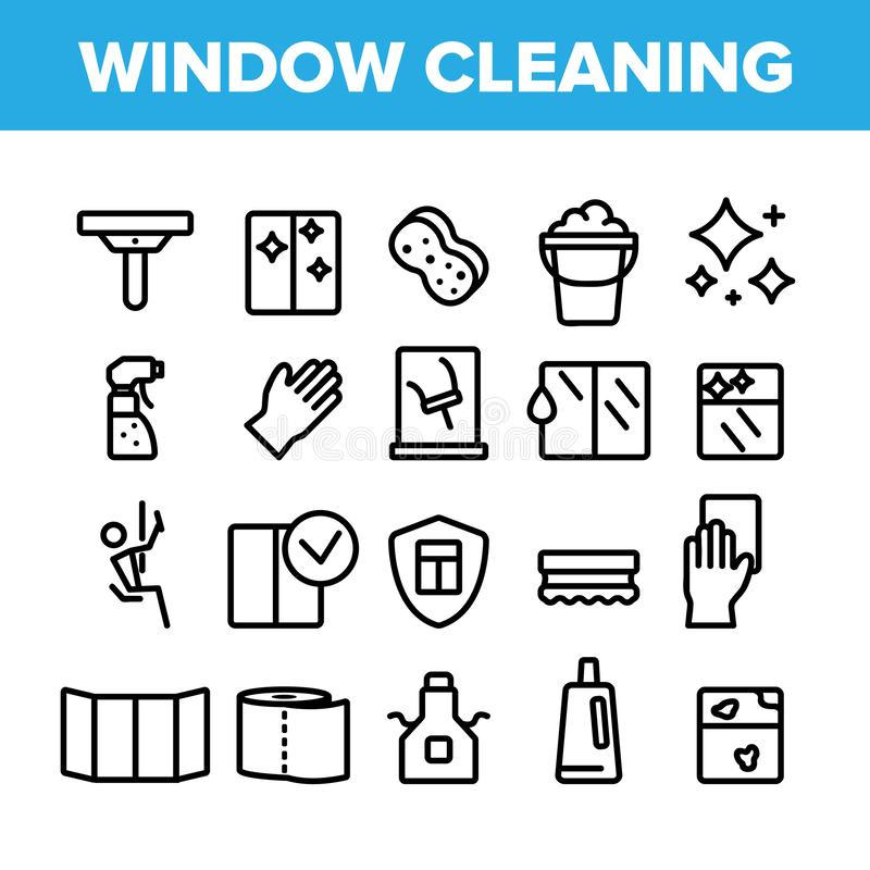 Sammlungs-Fenster-Reinigungs-Zeichen-Ikonen-Satz-Vektor lizenzfreie abbildung