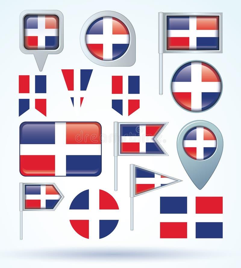 Sammlungs-Flagge von Dominikanischer Republik, Vektorillustration stock abbildung