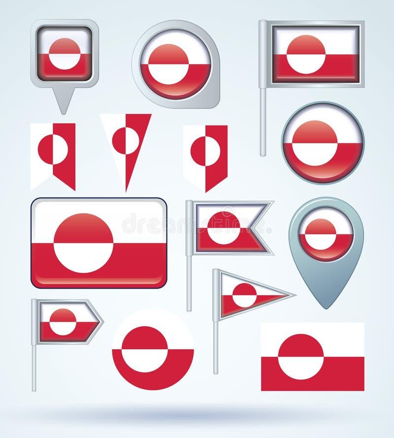 Sammlungs-Flagge von Grönland, Vektorillustration vektor abbildung