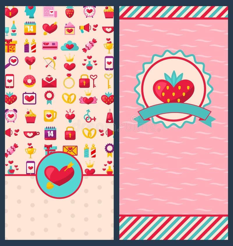Sammlungs-schöne Fahnen für glücklichen Valentinstag lizenzfreie abbildung