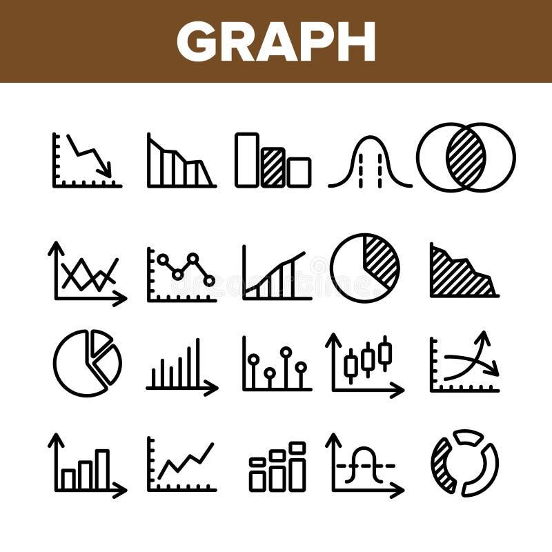 Sammlungs-unterschiedlicher Diagramm-Zeichen-Ikonen-Satz-Vektor vektor abbildung