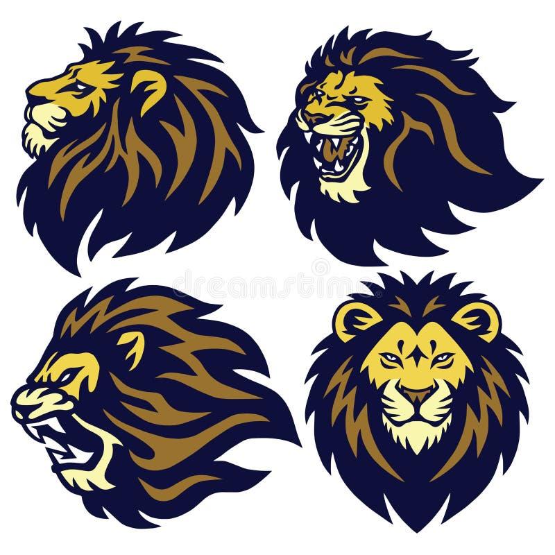 Sammlungs-Vektor-Maskottchen Lion Head Esport Logo Sets erstklassiges lizenzfreie stockfotografie