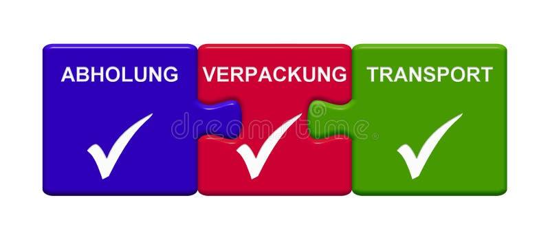 Sammlungs-, Verpackungs- und Transportdeutscher Vertretung mit 3 Puzzlespiel-Knöpfen stock abbildung