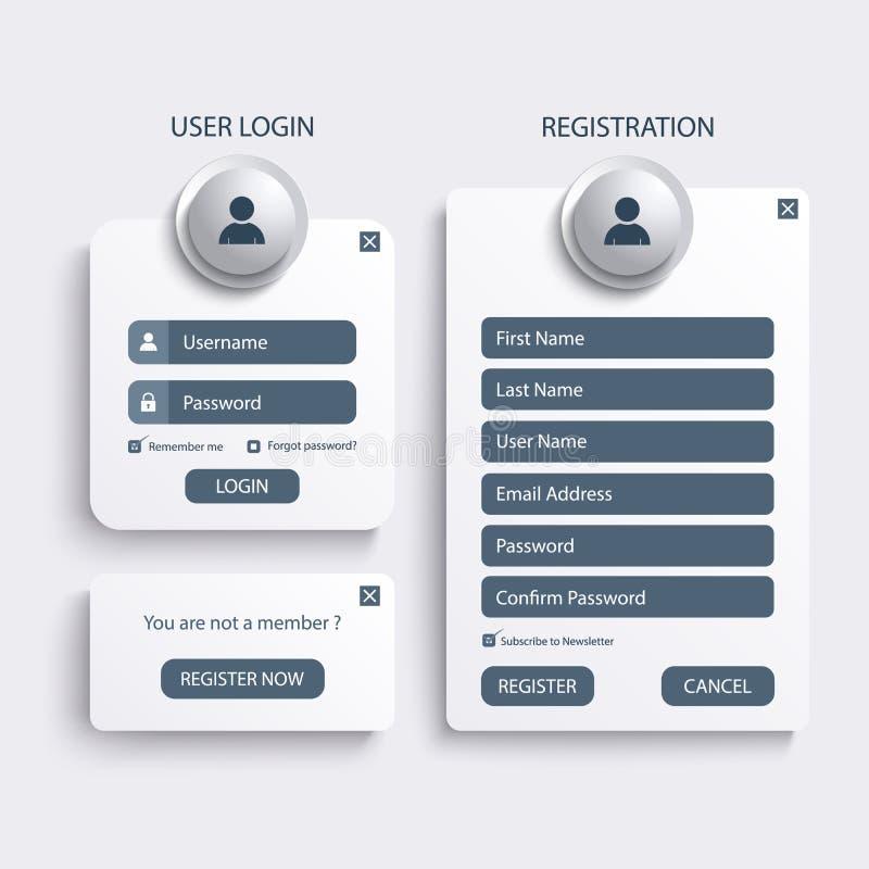 Sammlungsanmeldungs- und Registernetzschirmschablone stock abbildung