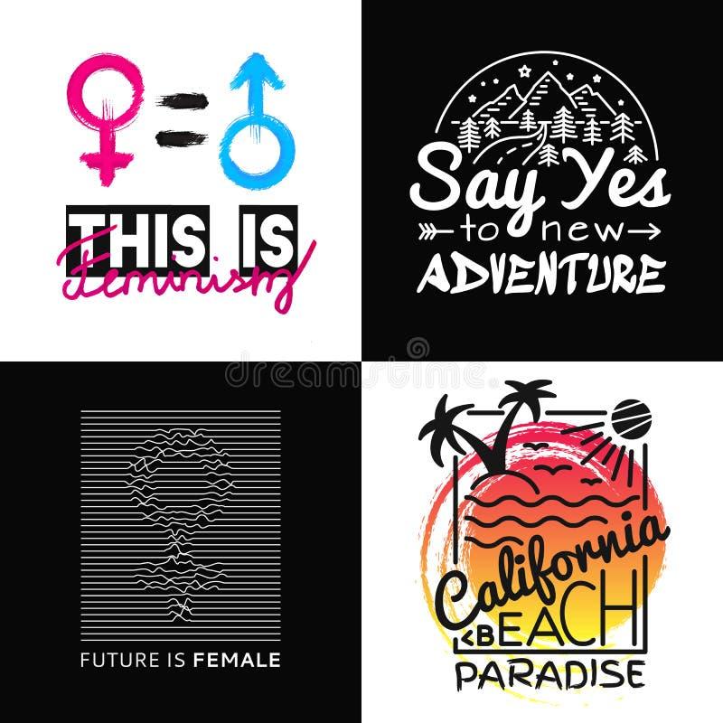 Sammlungsdrucke für T-Shirt Vector Illustration auf dem Thema Kalifornien, Feminismus, Abenteuer Modeslogan stock abbildung