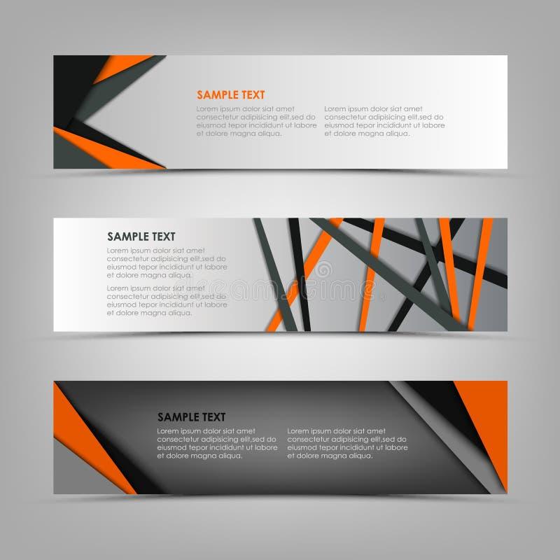 Sammlungsfahnen mit abstrakten Dreiecken und Streifenschablone lizenzfreie abbildung