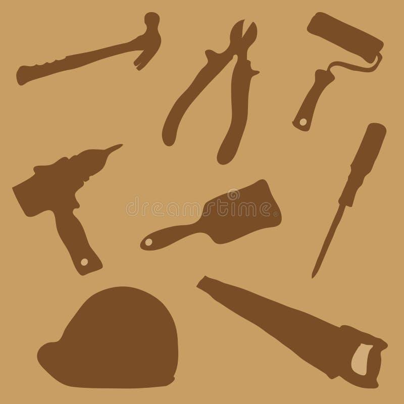 Sammlungsgebäudewerkzeuge lizenzfreie abbildung