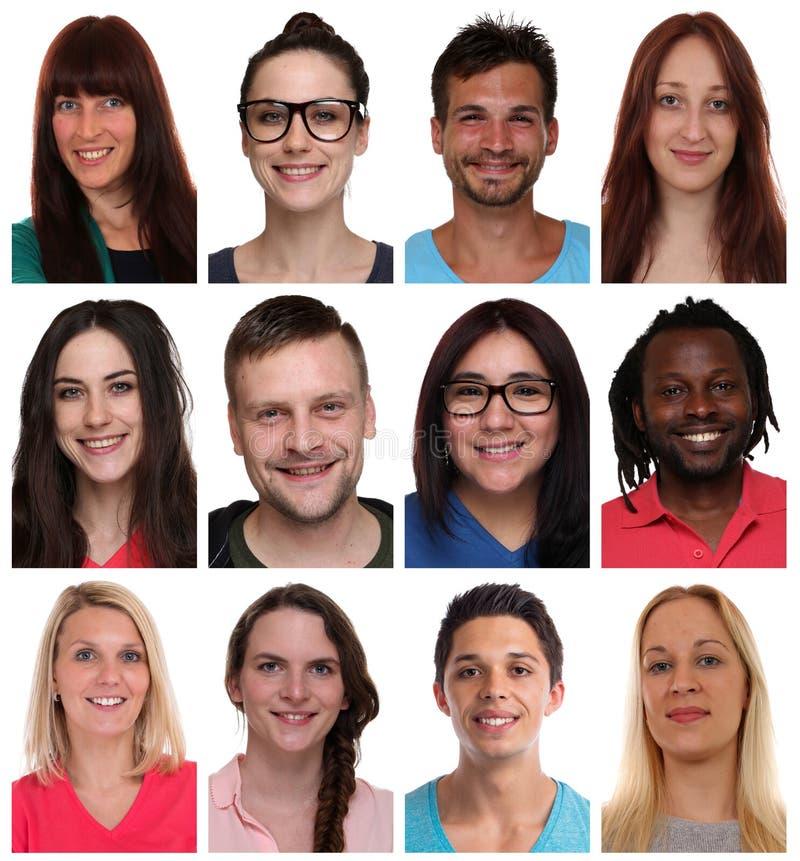 Sammlungsgruppenporträts von gemischtrassigen jungen lächelnden Leuten f stockfotografie