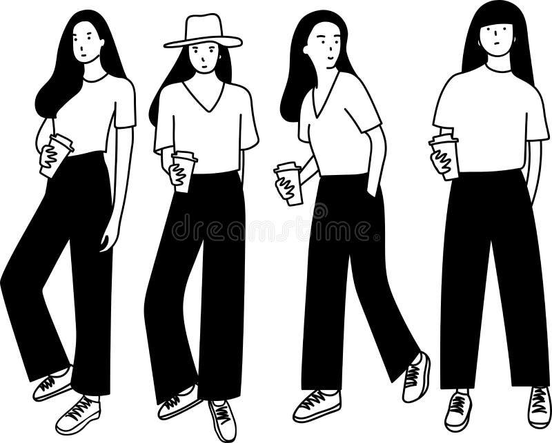 Sammlungshandgezogener Entwurf der langen Haarfrauenstellung, Kaffeetasse halten vektor abbildung