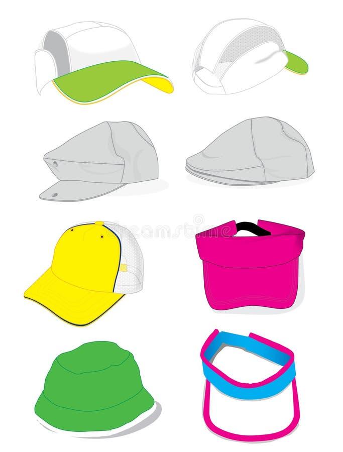 Sammlungsillustrationshüte lizenzfreie stockbilder