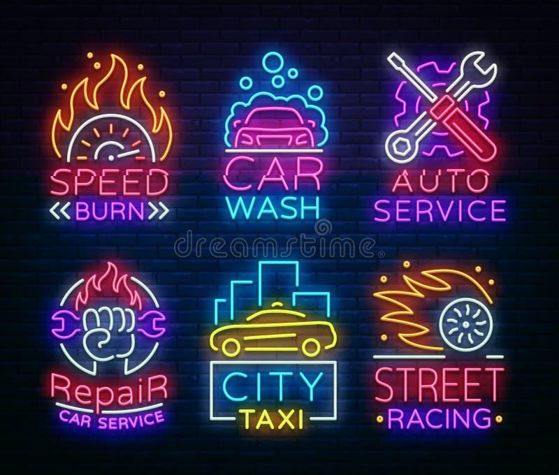 Sammlungsleuchtreklamen Transport Neonlogoembleme, Taxiservice, Waschanlage, Selbstservice, Autoreparatur, Straßenlaufen vektor abbildung