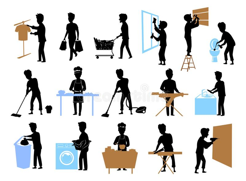 Sammlungssatz männliche sihlouettes an der Hausarbeit, Mann, der, Reinigungshauptfenstertoilettenboden, Backen, Bohrung, hämmernd lizenzfreie abbildung