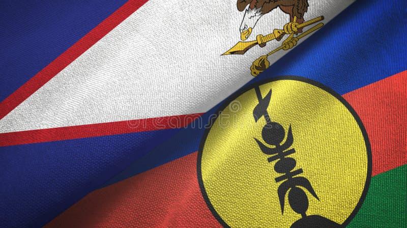 Samoa Americana e Nova Caledónia, duas bandeiras: tecido têxtil, textura de tecido fotos de stock royalty free