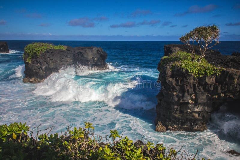 Samoa Coastal Lava Cliff Walk on Upolu island. Samoa Coastal Lava Cliff Walk with sea and waves on Upolu island stock photo