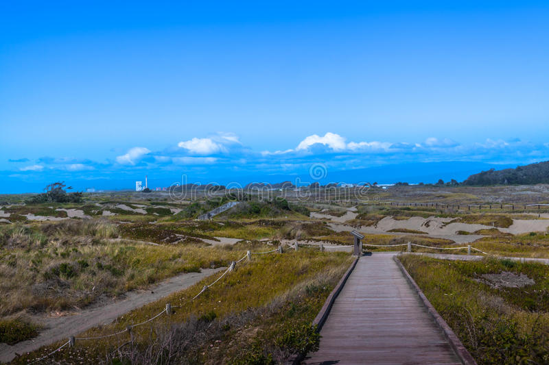 Samoa Dunes in Eureka California. Samoa Dunes, Eureka California, Pacific Ocean with blue sky and clouds royalty free stock photos