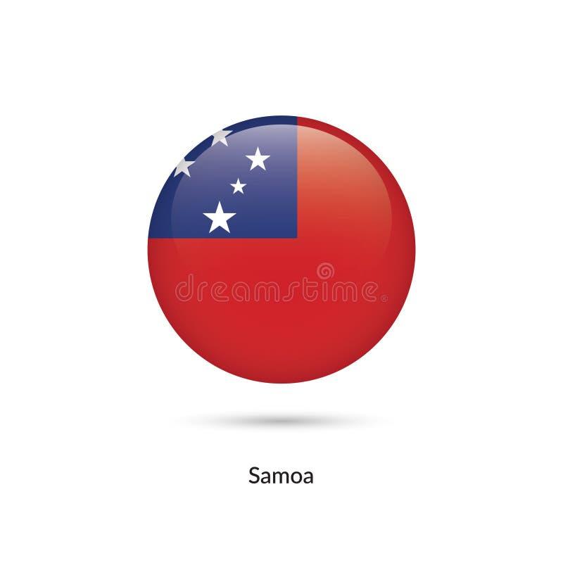 Samoa flagga - rund glansig knapp vektor illustrationer