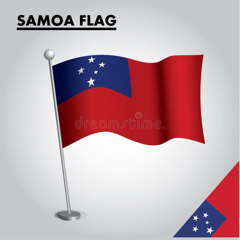 SAMOA-Flagge Staatsflagge von SAMOA auf einem Pfosten vektor abbildung