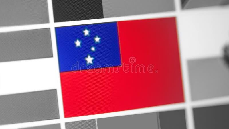 Samoa nationsflagga av landet Samoa flagga på skärmen, en digital moireeffekt fotografering för bildbyråer