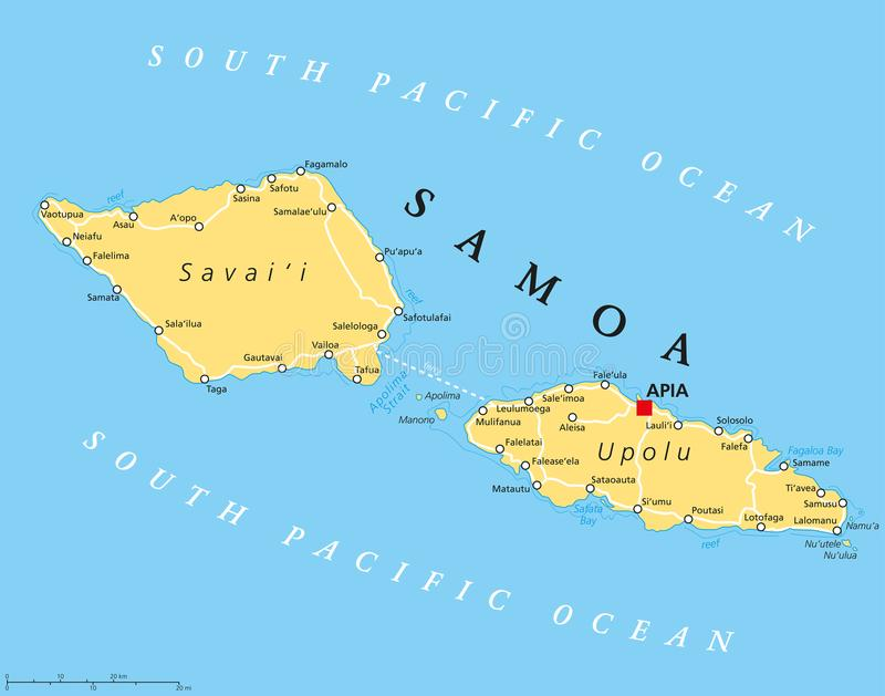 download samoa political map stock vector illustration of islands 104769168