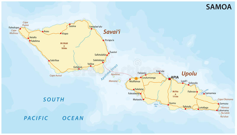 Samoa road map stock illustration Illustration of caps 68639293