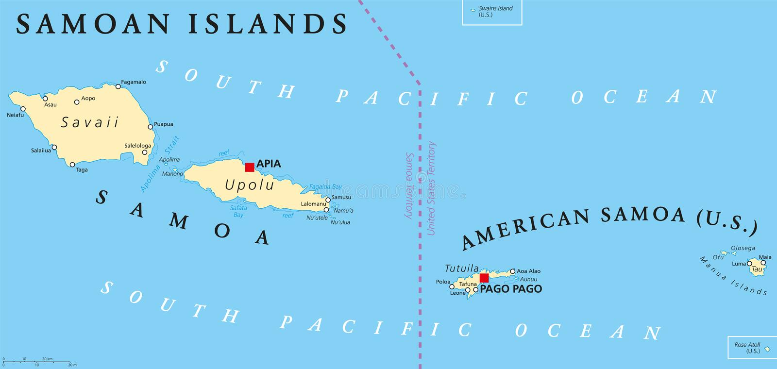 samoan islands political map with samoa formerly known as western samoa and american samoa and their capitals apia and pago pago