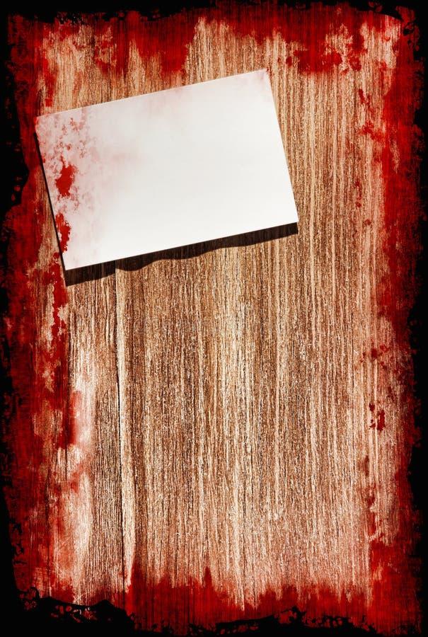 Samobójstwo krwista notatka na grunge drewnianym tle z czerni ramą ilustracji