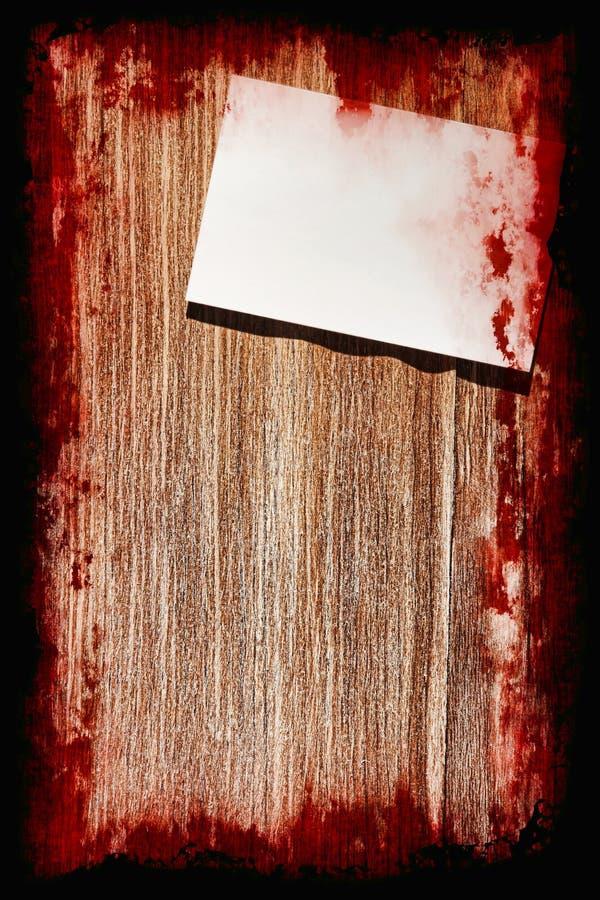 Samobójstwo krwista notatka na grunge drewnianym tle z ramą hallos royalty ilustracja