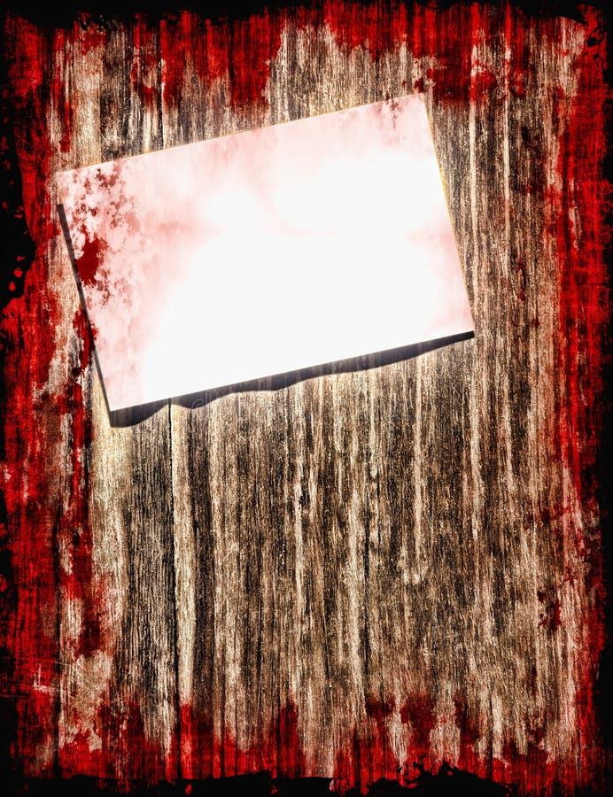 Samobójstwo krwista notatka na grunge drewnianym tle z zmrok ramą ilustracji