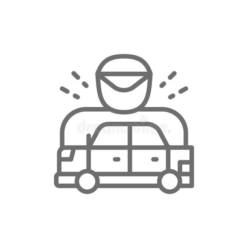 Samochód zatrzymywał policjantem, bieżnego samochodu linii ikona ilustracja wektor