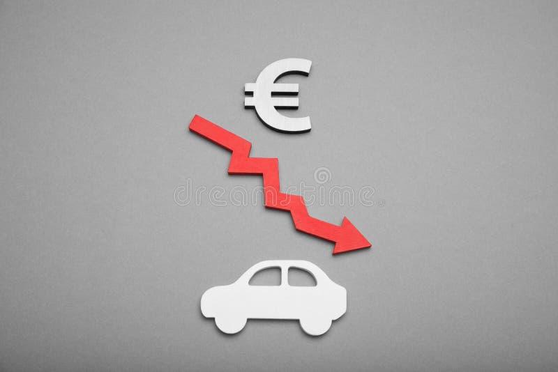 Samoch?d bankowo?? t?o, zmiana samochodu koszt, kryzysu biznes obrazy royalty free
