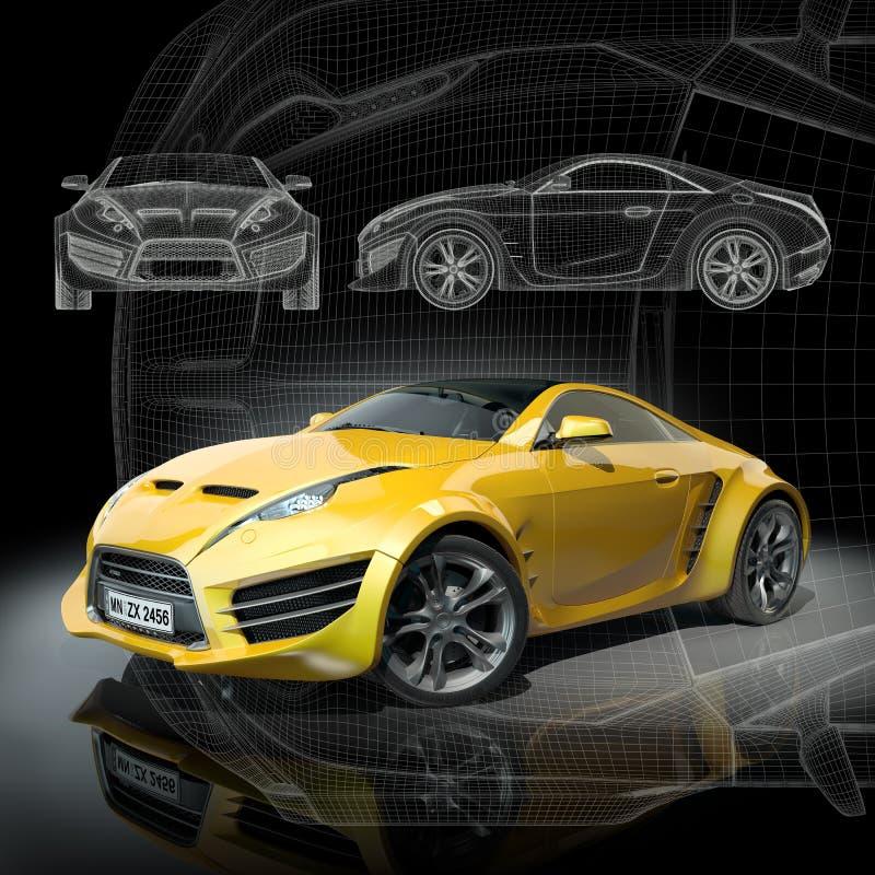 samochód bawi się kolor żółty ilustracji