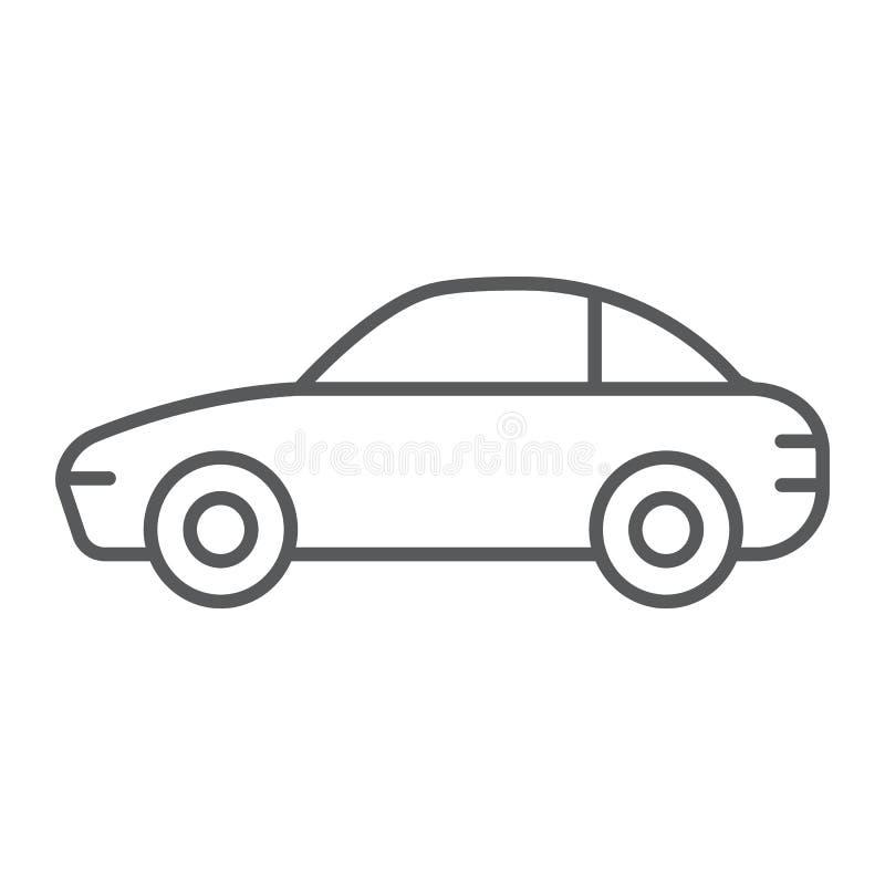 Samochód cienka kreskowa ikona, ruch drogowy i pojazd, samochodu znak, wektorowe grafika, liniowy wzór na białym tle royalty ilustracja