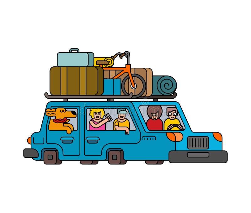 Samochód dla weekendowego konturu stylu Rodzina iść obozuje kreskowy styl ilustracja wektor
