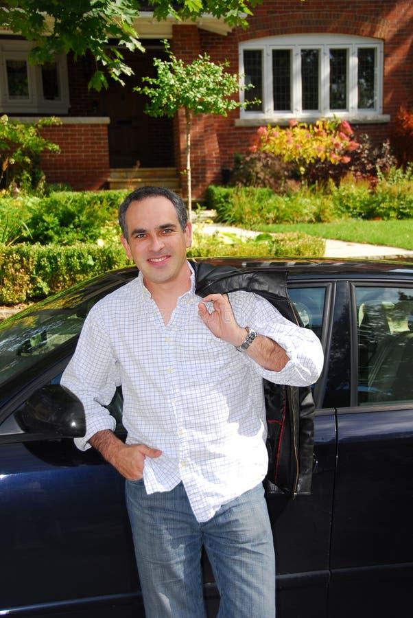 samochód domu mężczyzna fotografia stock